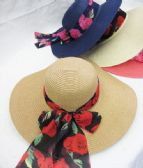36 Units of Women Fashion Summer Hat With Rose Printed Ribbon - Sun Hats