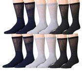 12 Pairs Unisex White Diabetic Socks for Neuropathy, Edema, Circulation, Comfort, by excell (10-13, Assorted (Black, Heather Grey, Charcoal Grey)) - Mens Crew Socks