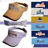 500 Units of Embroidered Sports Visors - Hats With Sayings