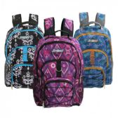 "24 Units of 18"" 3 Pocket Backpacks in 3 Assorted Prints - Case of 24 - B6353-ASST-24 - Backpacks 18"" or Larger"