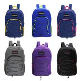 "24 Units of 19"" Wholesale Bungee Face Backpack in 6 Assorted Colors - Backpacks 18"" or Larger"