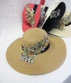 24 Units of Womens Straw Summer Hat With Embroidery - Sun Hats