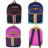 "24 Units of 17"" Kids Sport Backpacks in 3 Assorted Colors - Backpacks 17"""