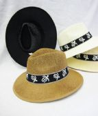 36 Units of Mens Straw Fedora Hat With Turtle - Cowboy, Boonie Hat