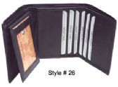 24 Units of TRI FOLD WALLET BLACK - Leather Wallets