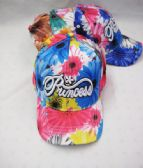 "36 Units of Kid's ""Princess"" Floral Baseball Caps - Kids Baseball Caps"