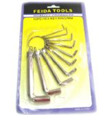 120 Units of 10 Piece Key Ring Set - Hex Keys