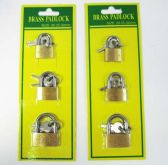 48 Units of 3 Piece Mini Pad lock Set - PADLOCKS/IRON/BRASS/COMBO