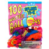 144 Units of 100PC ASSRT WATER BALLOON W/ FILLER IN PEGABLE PP BAG - Balloons & Balloon Holder