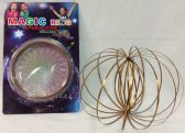 24 Units of Wholesale Yellow Golden Flow Ring Magic Ring Kinetic Spring Toy - Educational Toys