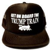 24 Units of Get On Board the Trump Train Mesh Caps - Brown - Baseball Caps/Snap Backs