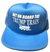 24 Units of Get On Board the Trump Train Mesh Caps - Light blue - Baseball Caps/Snap Backs