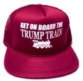24 Units of Get On Board the Trump Train Mesh Caps - Maroon - Baseball Caps/Snap Backs