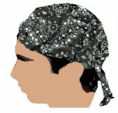 48 Units of Black Paisley Small Bandana Caps - Bandanas