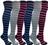 6 Pairs of excell women's over the knee thigh high striped socks , Sock Size 9-11 - Womens Knee Highs