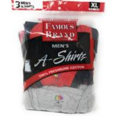 48 Units of Famous Brand Men's A-Shirt Tank Top 3-Pack - Mens Undershirts