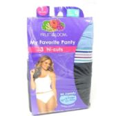16 Units of Fruit of the Loom Ladies Hi-Cut Panties 3-Pack - Womens Panties / Underwear