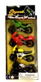 24 Units of 4 Piece motorcycle set, - Cars/Planes/Train/Bikes