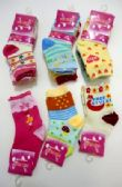 96 Units of Girls printed crew socks, size 2 years to 4 years, assorted styles - Girls Crew Socks