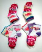 "96 Units of Girls ""sweet heart"" quarter socks, size 4 years to 6 years, assorted styles - Girls Crew Socks"