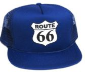 """24 Units of Adult mesh back printed hat, """"ROUTE 66"""", assorted colors - Baseball Caps/Snap Backs"""