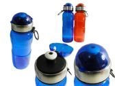 48 Units of Sport Water Bottle With Flip Top Size: 22oz/650mL, 2 Colors - Drinking Water Bottle