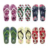 96 Units of Women's Flower Printed Flip Flops Assorted Colors - Women's Flip Flops