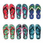 96 Units of Women's Printed Flip Flops Assorted Colors - Women's Flip Flops