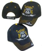 24 Units of Route 66 Embroidered Acrylic Cap - Baseball Caps/Snap Backs