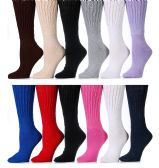 12 Pairs Of excell Womens Assorted Color Super Slouch Socks Cotton Blend, 9-11 - Womens Thermal Socks
