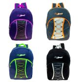 "24 Units of 17"" Bungee Cord Lace Up Backpack in 4 Assorted Colors - Backpacks 17"""