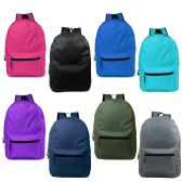 "24 Units of 15"" Kids Basic Backpacks in 8 Assorted Colors - Backpacks 15"" or Less"