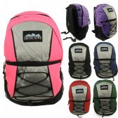 "24 Units of 17"" Kids Padded Bungee Design Backpacks in 6 Assorted Multi-color Colors - Backpacks 17"""
