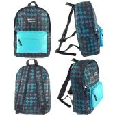 "24 Units of 16.5"" Kids Track Backpacks in a Multi-color Diamond Print - Backpacks 16"""