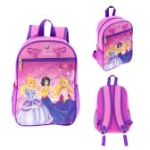"24 Units of 13"" Backpacks in a Multi-Color Junior Elf Princess Print - Backpacks 15"" or Less"