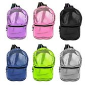 "24 Units of 17"" Mesh Backpacks in 6 Assorted Colors - Backpacks 15"" or Less"