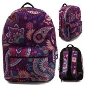 "24 Units of 17"" Kids Classic Padded Backpacks in PURPLE PAISLEY Print - Backpacks 17"""