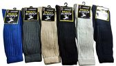 12 Pairs Of excell Mens Casual Striped Winter Thermal Socks, Sock Size 10-13 - Mens Thermal Sock