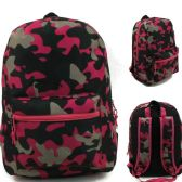 "24 Units of 17"" Kids Classic Padded Backpacks in PINK CAMOUFLAGE Print - Backpacks 17"""