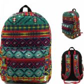 "24 Units of 17"" Kids Classic Padded Backpacks in AZTEC DK Print - Backpacks 17"""