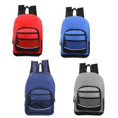 "24 Units of 17"" Kids Sport Backpacks in 4 Assorted Colors - Backpacks 17"""