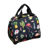 24 Units of Large Insulated Lunch Tote in a Flamingo Print - Lunch Bags & Accessories