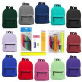 "24 Units of 15"" Basic Backpacks In 12 Assorted Colors with School Supply Kit - Backpacks 15"" or Less"
