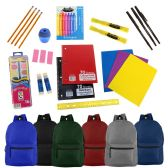 "24 Units of 19"" Basic Backpacks in 6 Assorted Colors with School Supply Kits - Backpacks 18"" or Larger"