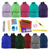"24 Units of 17"" Basic Backpacks in 12 Assorted Colors with School Supply Kits - Backpacks 17"""