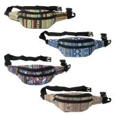 24 Units of Fanny Packs in 4 Assorted Canvas Prints - Fanny Pack