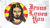 "24 Units of 3' x 5' polyester flag, ""Jesus Loves You"", with grommets - Flag"