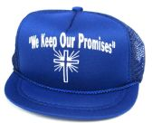 """24 Units of Printed mesh hats, """"WE KEEP OUR PROMISES"""", assorted colors - Baby Apparel"""