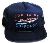 "24 Units of Adult mesh back printed hat, ""GOD IS MY CO-PILOT"", assorted colors - Baseball Caps/Snap Backs"