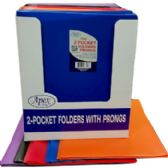 48 Units of Premium Plastic Two Pocket 3 Prong Folders - Folders and Report Covers